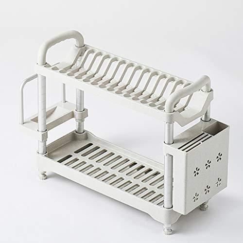 WYQ Blanc égouttoir Vaisselle Plastique 2 étages, avec Plateau (pour Ranger Bols, Assiettes, Tasse, Planche à découper) (Couleur : Blanc, Taille : 53cm × 22cm × 44cm)