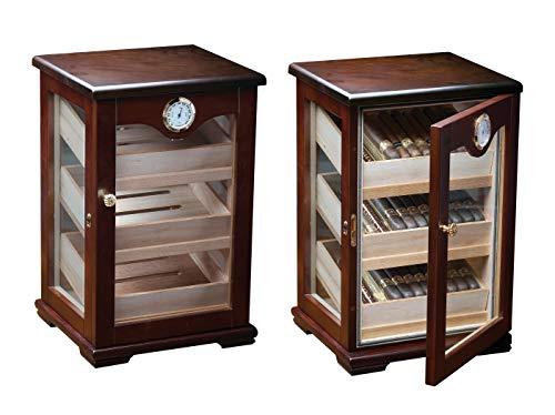 Prestige Import Group Milano Countertop Display Cigar Humidor with 4 Glass Sides & Angled Trays - Up to 125 Cigar Capacity - Finish: Dark Mahogony