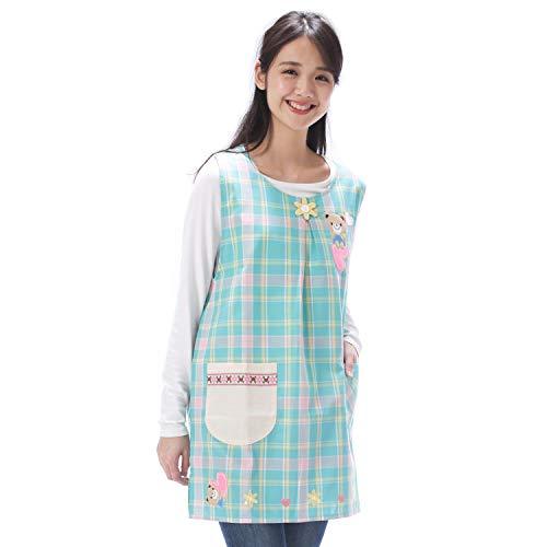 NISHIKI[ニシキ] エプロン おてんばママ 保育士 保育園 幼稚園 かわいい アップリケ 刺繍 サイドボタン ポケット付き レディース チュニック apron (グリーン/ML/nw796)