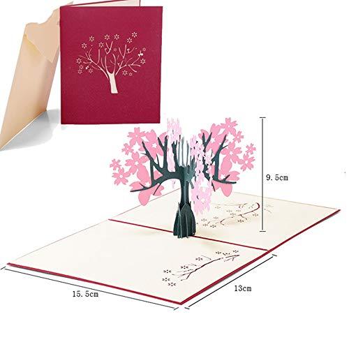HuXwei Invitación de Boda 3D Laser Flower Lover Pop up Tarjetas de felicitación Postales Cumpleaños Regalos de San Valentín, 2020