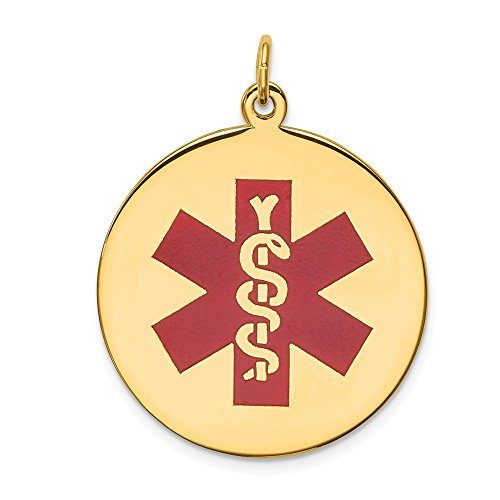 14k Yellow Gold Red Enamel Medical Alert Jewelry Pendant Charm Necklace Fine Jewelry For Women Gifts For Her