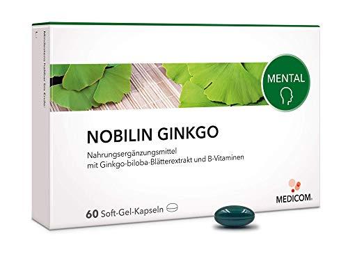 MEDICOM Nobilin Ginkgo – mit Ginkgo-biloba-Extrakt und B-Vitaminen, 60 Kapseln, für das Gehirn und starke Nerven