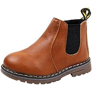 Quistal Kids Shoes Boys Girls Martin Sneaker Boots Zipper Baby Casual Shoes For School Kindergarten by (UK Size 6, Brown):Peliculas-gratis