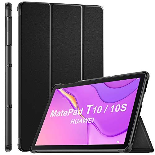 ELTD Funda Carcasa para Huawei MatePad T 10/10S, Ultra Delgado Silm Stand Función Smart Fundas Duras Cover Case para Huawei MatePad T 10/10S 2020 dispositivoa, (Negro)