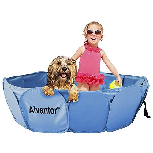 Alvantor Hundepool Faltbarer Schwimmbad Swimmingpool Hunde Pool Katzenpool Planschbecken Hundebadewanne,mit PVC-rutschfest Verschleißfest Für Kinder Den Hund Katze Haustier 106 * 30CM