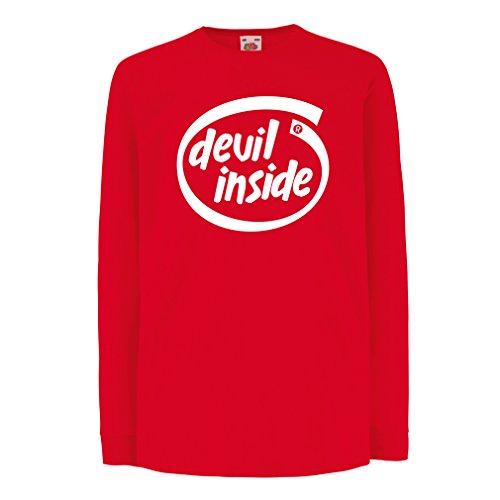 Camisetas de Manga Larga para Niño Devil Inside: Regalo Genial para el Jugador, Lema Divertido, Material de Juego (9-11 Years Rojo Blanco)