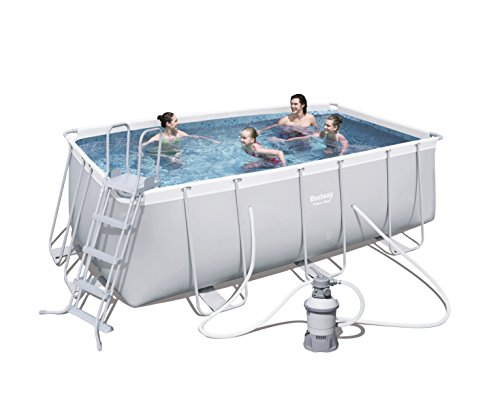 Bestway Power Steel rectangular frame Pool Set, gris claro, con filtro de arena Bomba + accesorios