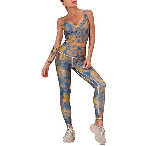 Conjunto de Chándal Mujer Traje de 2 Piezas, Estampados de Mujeres Conjunto de Entrenamiento de 2 Piezas Trajes de Cintura Alta Altura de Cintura de Cintura Conjuntos de Yoga Flaco Racerback Deportes