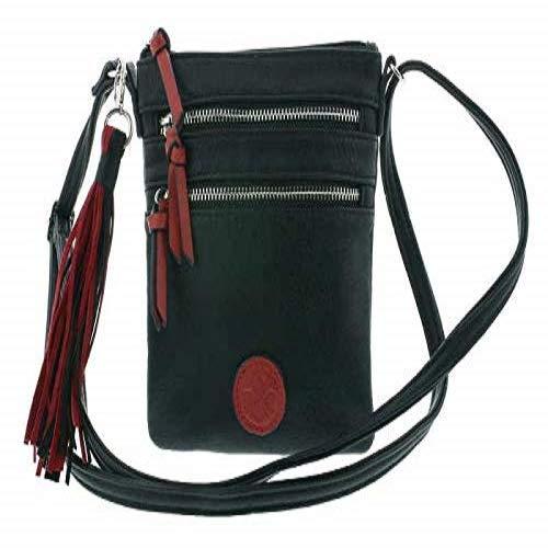 Rieker Handtasche, Bolsa de noche para Mujer, Negro (schwarz/rosso), 190x15x170 centimeters (B x H x T)