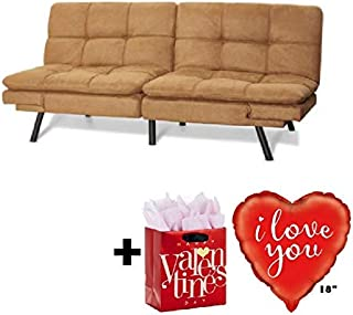 Mainstay Memory Foam Futon, Camel Suede with Valentine's Freebies I Love You Balloon..
