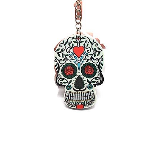 Portachiavi con teschio messicano Calavera a cuore rosso