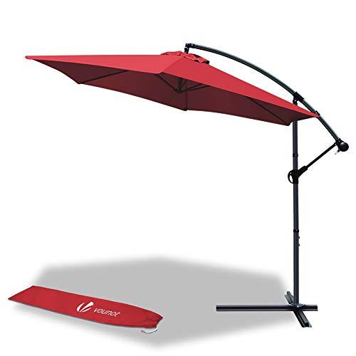 VOUNOT Ampelschirm 300 cm, Sonnenschirm mit Kurbelvorrichtung, Kurbelschirm mit Schutzhülle, Sonnenschutz UV-Schutz, Rot
