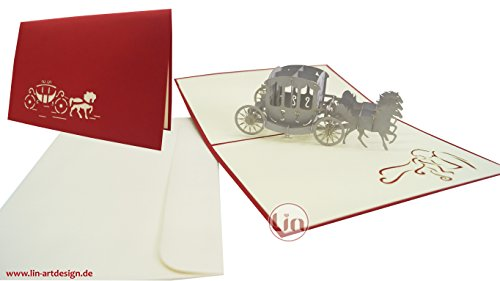 POP uP 3D hochzeitsglückwunschkarten hochzeitskutsche invitation avec motifs