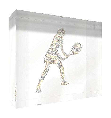Feel Good Art 5BLK-01IT Tenniste décoratif en Acrylique, ponçage au Diamant avec Dessin Moderne typographique 14.8 x 21 x 2 cm Beige Tones