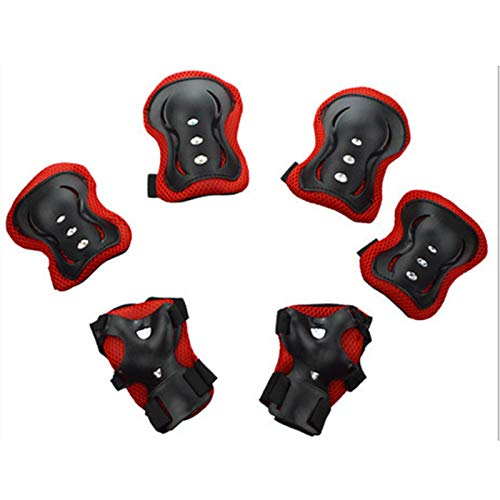 Protective Gear Set, 6Pcs/Set Kids Knee Pads Elbow Wrist Guards Protective Gear for 3-8 Years Old Boys Girls Skating Cycling Bike Rollerblading Scooter Red One Size