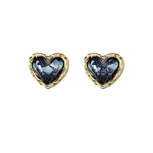 MURUI EH S925 plata aguja temperamento simple libélulas pequeño corazón melocotón yc613 (color: negro azul A)