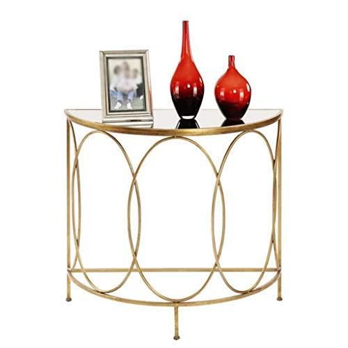 NSYNSY Stuhl Beistelltisch Ende Nachttisch Gehärtete Glaskonsole Wohnzimmer Schlafzimmer Nachttisch Halbkreisförmige Konsole Halbkreis Gold, 80 * 75 cm
