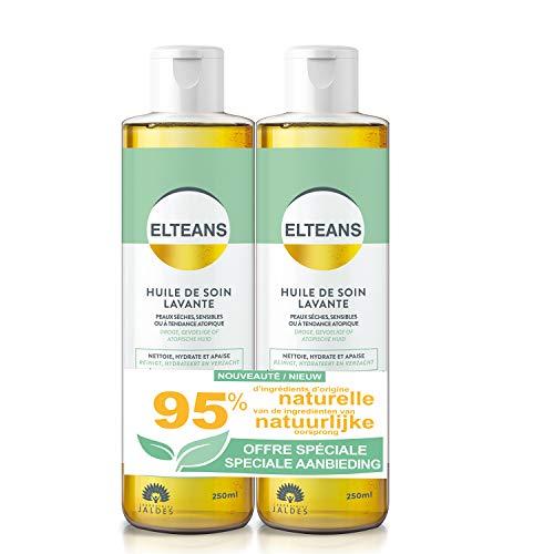 ELTEANS Huile de soin lavante | Lot 2X Flacons de 250ml | Peaux sèches et sensibles | Corps, cheveux et visage | Nettoie, hydrate et apaise | Adaptée aux peaux sensibles, sèches et à tendance atopique