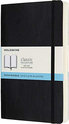 Moleskine Klassisches Notizbuch (mit Punktraster und Zusatzseiten, Softcover mit elastischem Verschlussband, Größe A5 13 x 21, 400 Seiten) schwarz