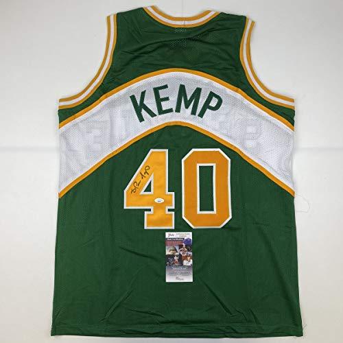 Autographed/Signed Shawn Kemp Seattle Green Basketball Jersey JSA COA