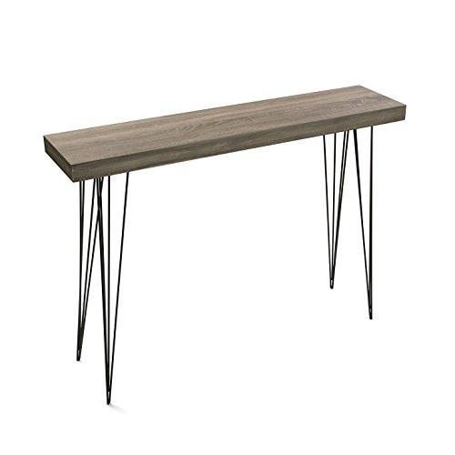 Versa Dallas Mueble Recibidor Estrecho para la Entrada o el Pasillo, Mesa Consola, Medidas (Al x L x An) 80 x 25 x 110 cm, Madera y Metal, Color Marrón