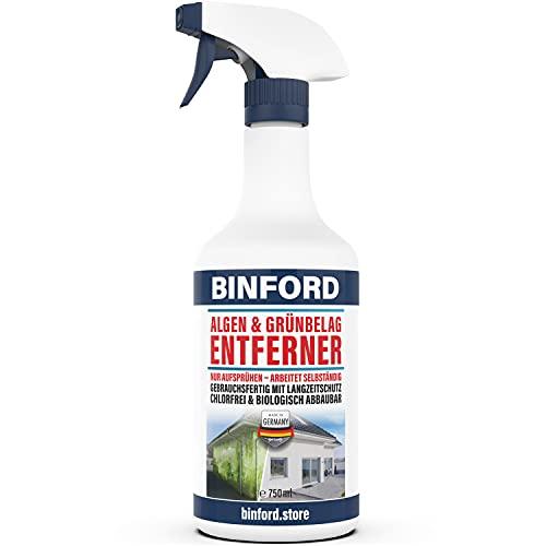BINFORD Algen- & Grünbelagentferner gebrauchsfertig 750 ml chlorfrei & säurefrei für 15 qm,entfernt selbstständig Grünbelag & Flechten, Algenentferner für Stein & Fassade, Grünspan-Entferner