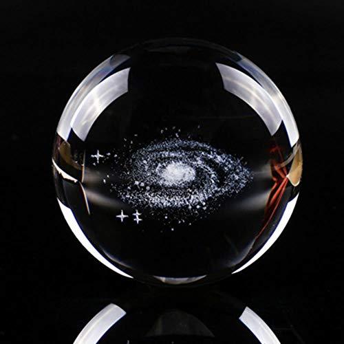MALAT 60 / 80Mm 3D Weihnachten Weihnachtsmann Oder Baum Kristallkugel Glaskugel Kristall Handwerk, Galaxie Syatem, 60Mm Mit Led-Ständer