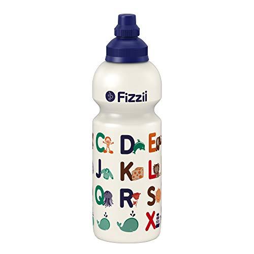 Fizzii Kinder- und Freizeittrinkflasche 600 ml (auslaufsicher bei Kohlensäure, schadstofffrei, spülmaschinenfest, Motiv: ABC)