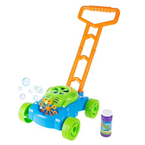 Hey! Play! Bubble Lawn Mower- Toy Push Lawnmower Bubble Blower Machine, Walk Behind Outdoor Activity For Toddlers, Boys & Girls, Multicolor (B07T5PC8TT)