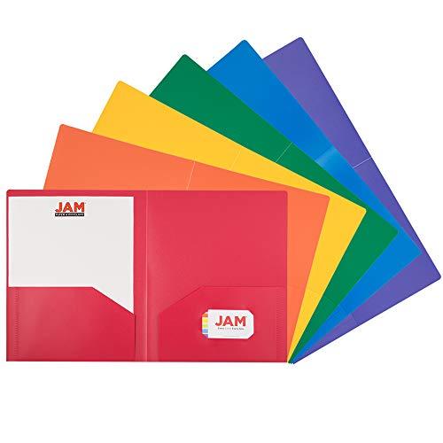 JAM PAPER Heavy Duty Plastic 2 Pocket School Folders - Assorted Primary Colors - 6/Pack