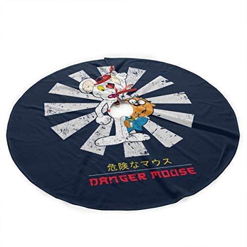 Danger Mouse Retro Japanese Plush Fabric Christmas Tree Skirt 36 Inch Holiday Home Decor ,Soft, Light and Good to Touch