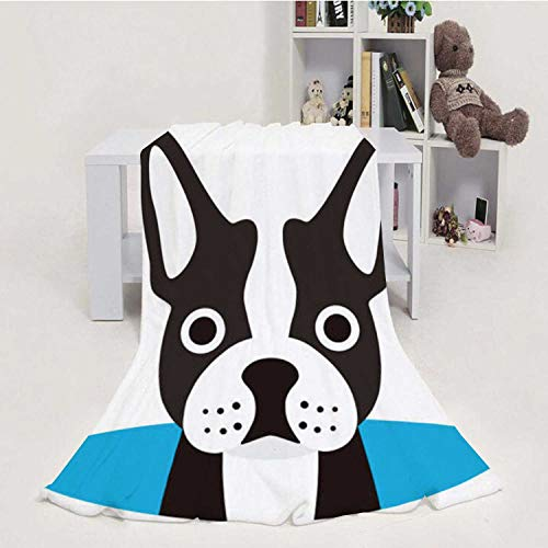 Hitecera Cute French Bulldog on The cave,Flannel Blanket Super Soft Warm Cozy Bed Blanket Sofa Throw Blanket Watching 70''x80''(WxL)