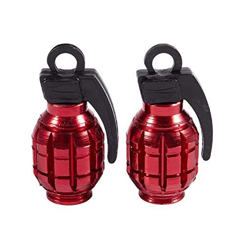 Lopbinte 2 tapones de válvula de aleación de granada para bicicleta, bicicleta BMX (rojo)