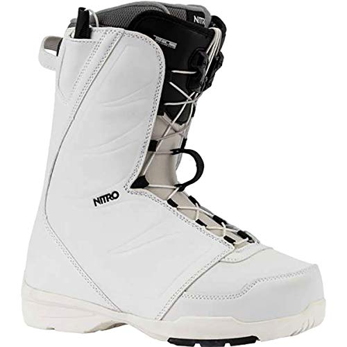 Nitro Snowboards Women's Flora TLS '20 All Mountain Freestyle Speed Lacing System Low Cost Boot Snowboard Boat, White, 26.0