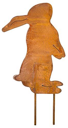 Metall Stecker Hase Flecki Ostern Rost-Finish edel Edelrost Rostfigur Tierfigur Rostige Gartendeko Hausdeko Beetstecker Gartenstecker braun stabil zeitlos wetterfest Baum Garten Sommer Frühling H=40cm