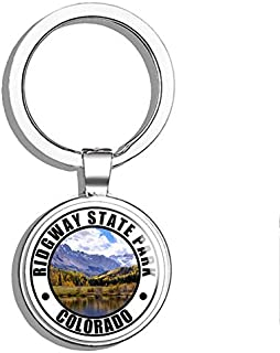 PRS Vinyl Round Ridgway State Park Colorado (co Wildlife Hike rv) Double Sided Stainless Steel Keychain Key Ring Chain Holder Car/Key Finder