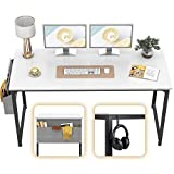 CubiCubi Computer Desk 63' Study Writing Table for Home Office, Modern Simple Style PC Desk, Black Metal Frame, White