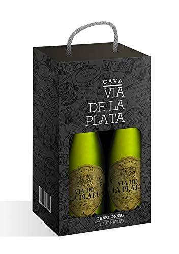 ESTUCHE 2 BOTELLAS CAVA VIA DE LA PLATA CHARDONNAY BRUT NATURE