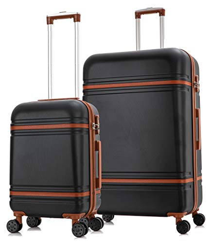 Starlite Luggage ABS147 Set of 2 Large and Cabin Hard Shell Suitcase 4 Wheel Spinner Black