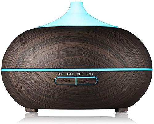 Diffuser voor etherische olie van 500 ml, diffuser voor aromatherapie met koele nevel en 7 kleurrijke LED-lichtluchtzuiveraar, waterloze, automatische uit-fluisterstil,Brown