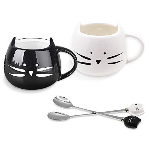 SITAKE 2 Paket Niedliche Katzen-Tasse Keramische Kaffeetasse mit 2 Stück Löffel Set, 450ml, Katze Keramik Becher Tassen Geschenke Für Frauen Mädchen Katzenliebhaber, Morgen Tee Kaffee Milch Tasse