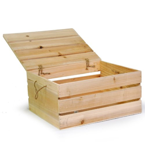 The Lucky Clover Trading Storage Box with Swing Lid Crate, Natural Wood