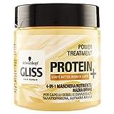 Gliss - Mascarilla Proteína 4 en 1 Manteca Karité, Proteína para tu Cabello, Fórmula Vegana y sin Colorantes Artificiales, para Cabello Dañado y/o Débil, Amarillo, 400 mililitros