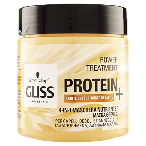 Gliss - Mascarilla Capilar Hidratante 4 En 1 - Para cabello dañado y/o débil - Con Manteca Karité, 400ml, Fórmula vegana y sin colorantes artificiales