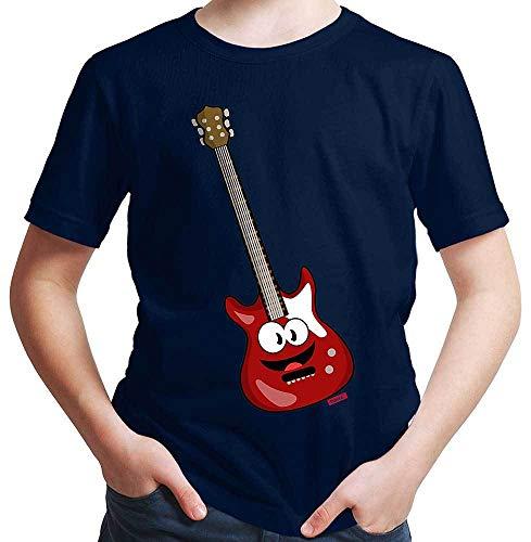 Hariz - Camiseta para niño con diseño de guitarra eléctrica Azul marino...
