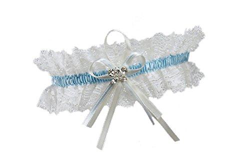 BrautChic Hochzeitsstrumpfband funkelnde Kristalle in Schmetterlingsform Elfenbein, EXTRA WEIT(XL/XXL)-Einheitsgröße, Creme/Blau