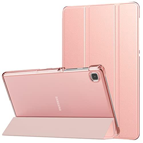 MoKo Funda Compatible con Samsung Galaxy Tab A7 Lite 8.7-Inch 2021 Versión Tableta (SM-T225/SM-T220), Cubierta Estuche Inteligente con Soporte Triple Plegable con PC Trasera Transparente, Oro de Rosa