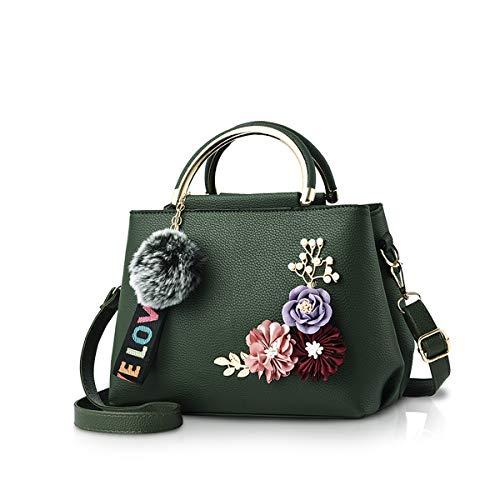 NICOLE & DORIS Damen Leder Handtasche Umhängetaschen mit Blume Jahrgang Griff Tasche Designer Tote Geldbörse mit Pom Pom dunkelgrün