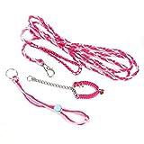 HEEPDD Criceto per criceti, guinzaglio per Animali Domestici di Piccola Taglia addestramento per Passeggiate a Piedi imbragatura con Collare a Campana per Criceto Nano Criceto(Rosa e Rosa Rossa)
