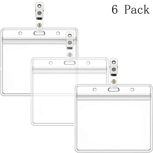 Horizontal Name Tag Holders and Metal Badge Clips with Vinyl Strap Waterproof PVC ID Card Holder (Horizontal 2.36x3.74 6PACK)